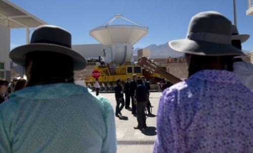 Radio telescope antennas of the ALMA project are seen in San Pedro de Atacama on March 13, 2013