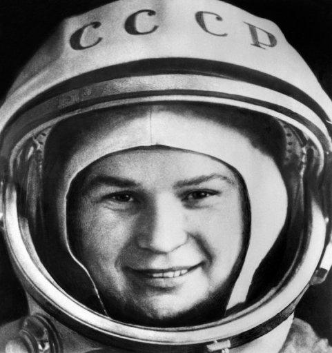 Russian cosmonaut Valentina Tereshkova poses before boarding the Vostok 6, at Baikonur cosmodrome, on June 16, 1963