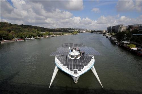 Solar boat reaches Paris after crossing Atlantic