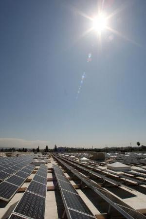Solar panels cover the roof of a Sam's Club store in Glendora, California that was toured by California Gov. Arnold Schwarzenegg
