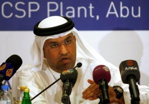 Sultan Ahmed al-Jaber—the chief executive of Masdar—talks to the press in Abu Dhabi, on June 9, 2010