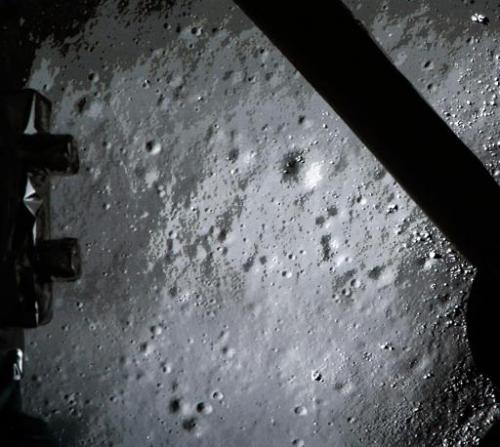 The moon surface transmitted to Earth by the Chang'e-3 space probe carrying China's first lunar rover prior to landing on the mo