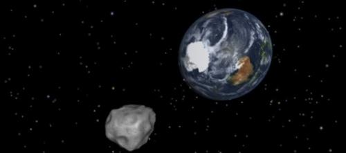 This NASA graphic obtained February 8, 2013 depicts the Earth flyby of asteroid 2012DA14