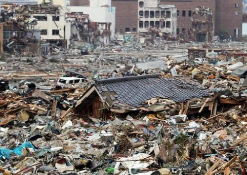 This picture taken on March 14, 2011 shows the tsunami-hit Onagawa town, in northeast Japan