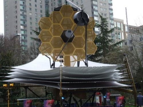 This undated NASA handout image shows a full scale James webb Space Telescope