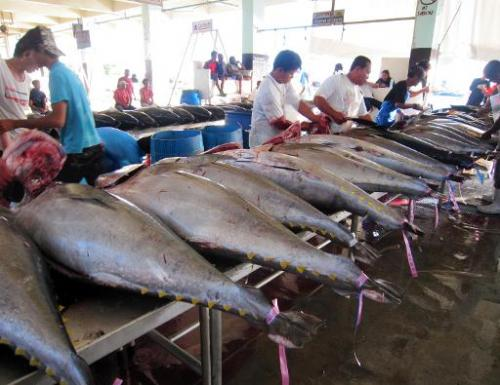 Workers clean tuna fish for export at the port in General Santos City, on the southern Philippine island of Mindanao on December