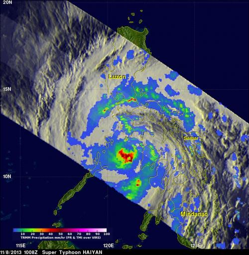 NASA's TRMM satellite sees Super-typhoon Haiyan strike Philippines