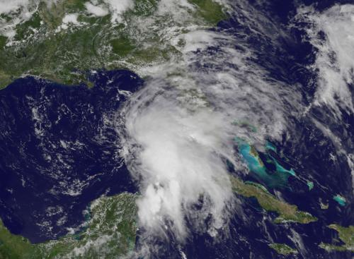 NASA satellite sees strong thunderstorms in developing gulf low