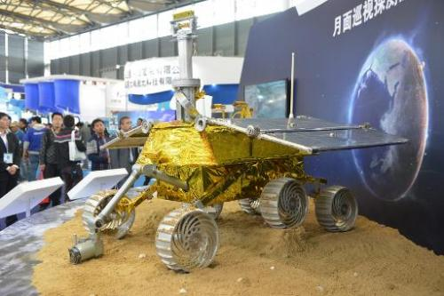 This file photo shows a model of a lunar rover 'Jade Rabbit', seen on display at the China International Industry Fair in Shangh