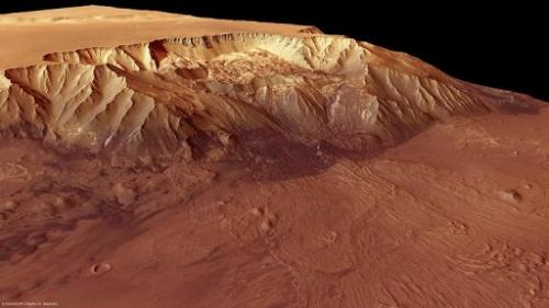 A picture released by the European Space Agency on October 8, 2010 shows Mars's Melas Chasma
