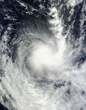 NASA satellite image sees Cyclone Victoria looking like a 'J' from space