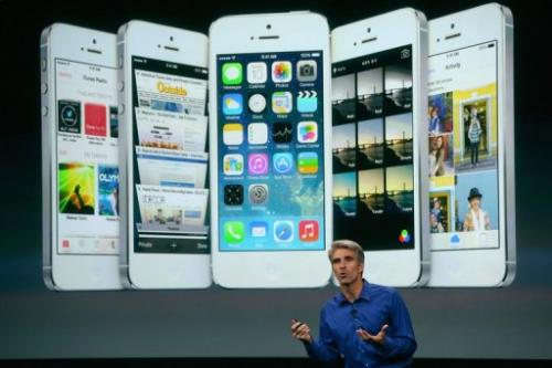 Apple Senior Vice President of Software Engineering Craig Federighi speaks about iOS 7 on September 10, 2013