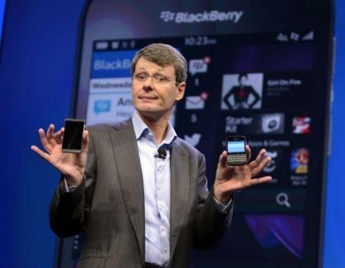 BlackBerry CEO and President Thorsten Heins unveils the BlackBerry 10 mobile platform in New York on January 30, 2013.