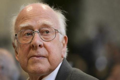 British physicist Peter Higgs looking on during a press conference at the European Organization for Nuclear Research (CERN) offi