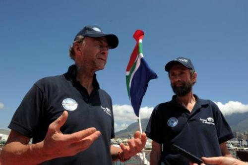Explorers Sir Ranulph Fiennes (L) and Anton Bowring talk to journalists on January 6, 2013 in Cape Town