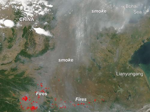 Fires in eastern China