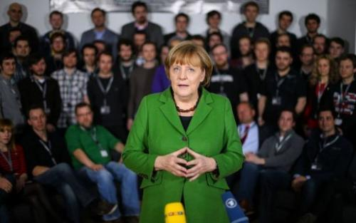 German Chancellor Angela Merkel visits the Internet start-up company ResearchGate in Berlin, on March 7, 2013