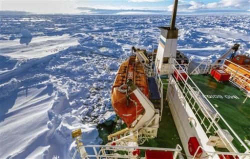 Icebound ship in Antarctica edges closer to rescue