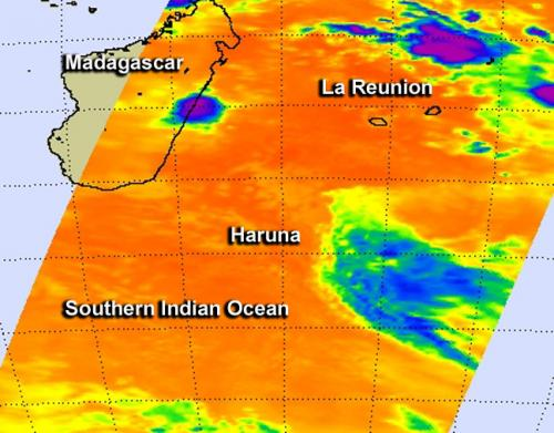 Infrared NASA data shows Cyclone Haruna being blown away