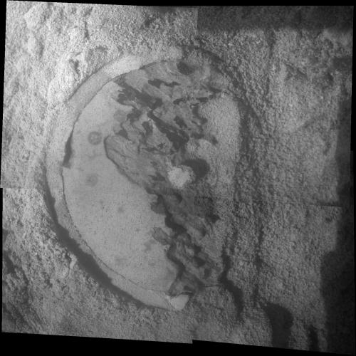 Mars rover Opportunity examines clay clues in rock
