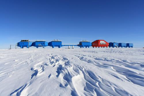 Research station on skis withstands Antarctic ice and snow