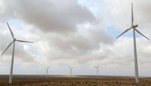 Wind turbines are pictured in Morocco's Tarfaya wind farm on May 14, 2013