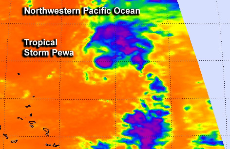 NASA sees Tropical Storm Pewa temporarily weaken