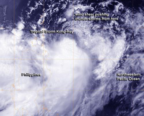 NASA sees Tropical Storm Kong-Rey battling wind shear