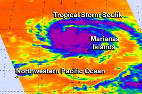 NASA satellite sees 2 views of Tropical Storm Soulik over Marianas Islands