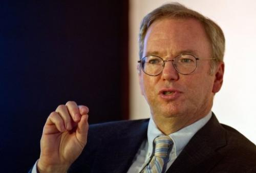 Google chairman Eric Schmidt addresses a start-up event in New Delhi on March 20, 2013