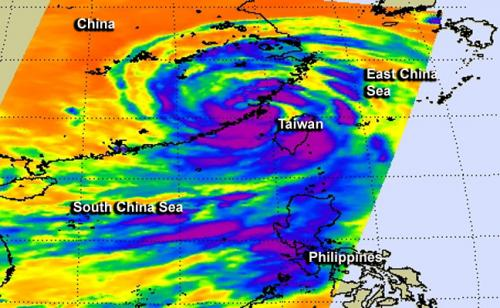 NASA catches Typhoon Trami's landfall in China