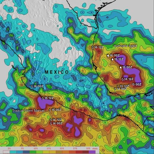 NASA's TRMM satellite adds up Tropical Storm Manuel's amazing rainfall