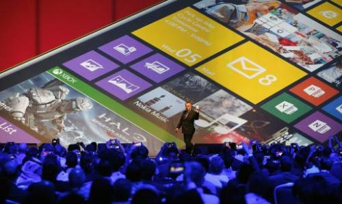 Nokia CEO Stephen Elop, unveils products during an event on October 22, 2013 in Abu Dhabi