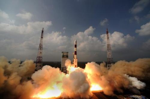 The PSLV-C25 rocket carrying the Mars Orbiter Spacecraft blasts off from the launch pad at Sriharikota on November 5, 2013