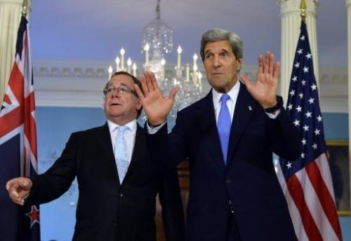 US Secretary of State John Kerry (R) and New Zealand Foreign Minister Murray McCully in Washington, DC on May 20, 2013