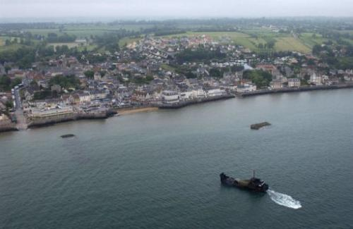 An aerial view of the port of Arromanches-les-Bains, northern France taken on June 4, 2004