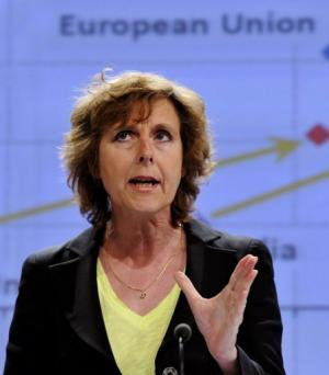 EU commissioner for Climate Action Connie Hedegaard speaks on March 27, 2013 at the EU headquarters in Brussels