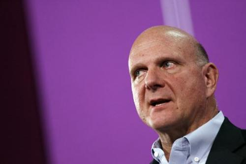 Microsoft CEO Steve Ballmer speaks in San Francisco on August 23, 2013