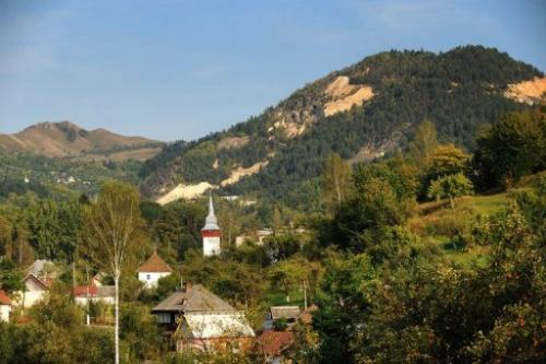 This photo taken on September 20, 2011 shows a general view of Rosia Montana village, 430 kms west of Bucharest