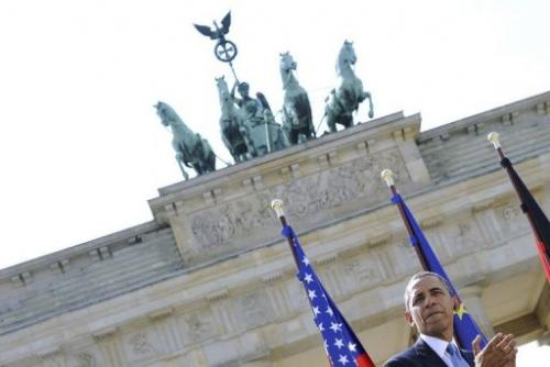 US President Barack Obama speaks at the Brandenburg Gate on June 19, 2013 in Berlin