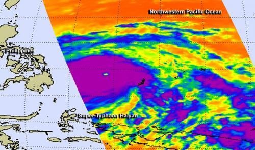 NASA satellites see Super-Typhoon Haiyan lashing the Philippines