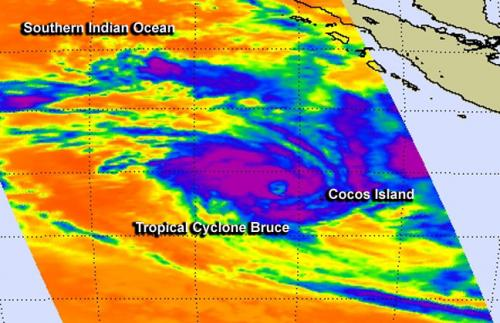 NASA sees Tropical Cyclone Bruce develop near Cocos Island