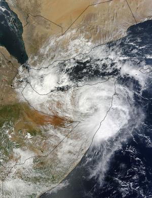 NASA satellites see Cyclone 03A make landfall in Somalia