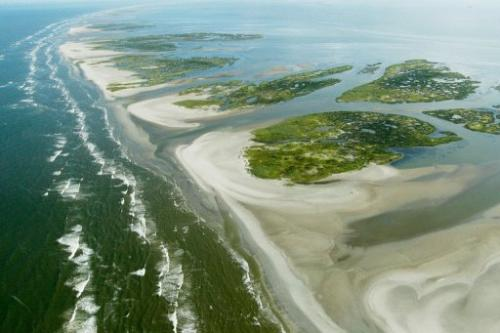 An aerial view of the Chandeleur islands on June 23, 2010 in the Gulf of Mexico along the coast of Louisiana