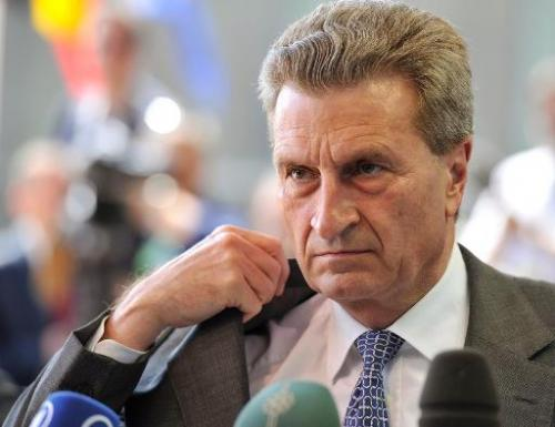 EU commissioner for Energy Gunther Oettinger talks to the press on April 22, 2013 at the Kirchberg conference center in Luxembou