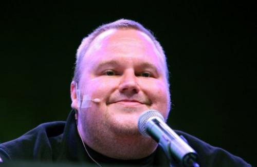 Megaupload founder Kim Dotcom during the launch of his new website on January 20, 2013