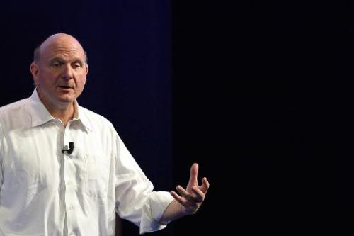 "Microsoft CEO Steve Ballmer speaks during the conference ""Building the Vision"" held in Rome on November 5, 2013"
