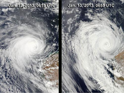 NASA sees Tropical Storm Narelle winding down near western Australia