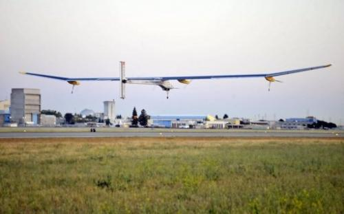 The Solar Impulse takes off from Moffett Field NASA Ames Research Center in Mountain View, California on May 3, 2013