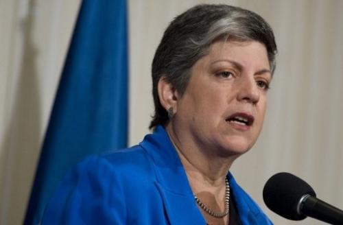 US Secretary of Homeland Security Janet Napolitano gives her farewell speech in Washington, DC on August 27, 2013